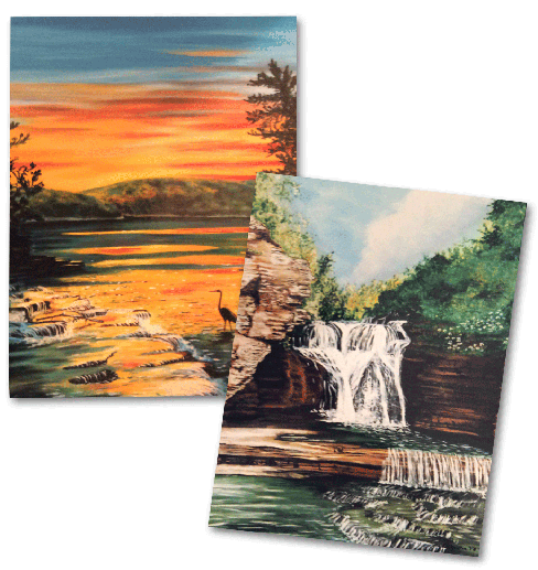 Sunset & Waterfall Note Cards